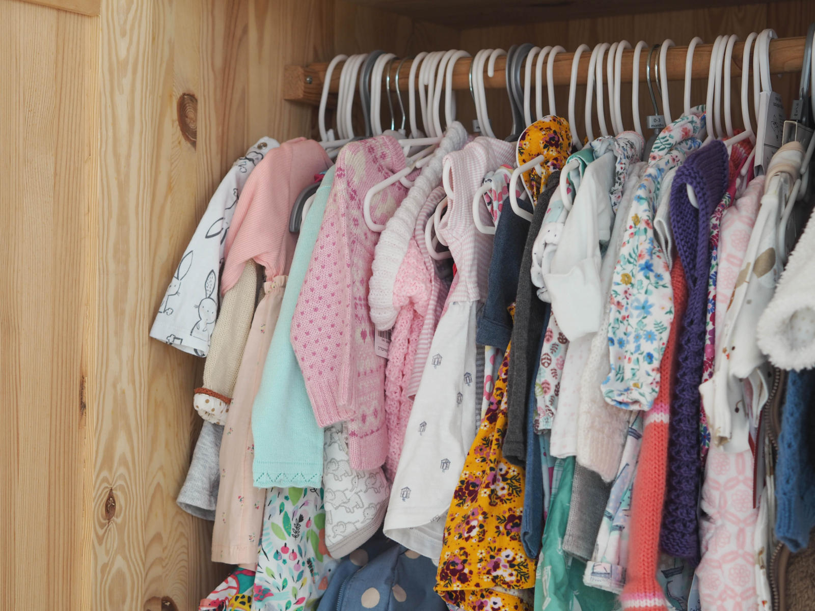 Baby clothes in the wardrobe